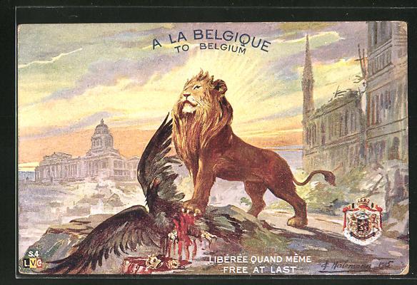 Künstler-AK Belgischer Löwe hat deutschen Reichsadler besiegt, Propaganda Entente