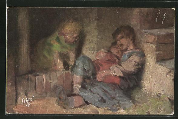 Künstler-AK Hermann Kaulbach: Arme Kinder schlafen in einem Mauerwinkel