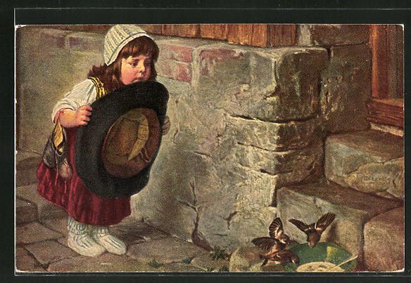 Künstler-AK Hermann Kaulbach: Mädchen will einen Vogel fangen