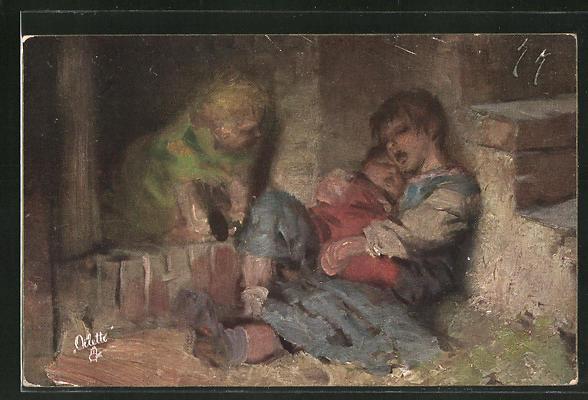 Künstler-AK Hermann Kaulbach: Erschöpfte Kinder schlafen in einer Mauerecke
