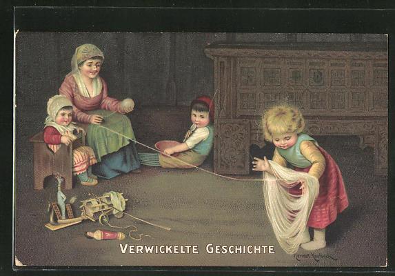 Künstler-AK Hermann Kaulbach: Verwickelte Geschichte, Mädchen hilft der Mutter bei der Handarbeit