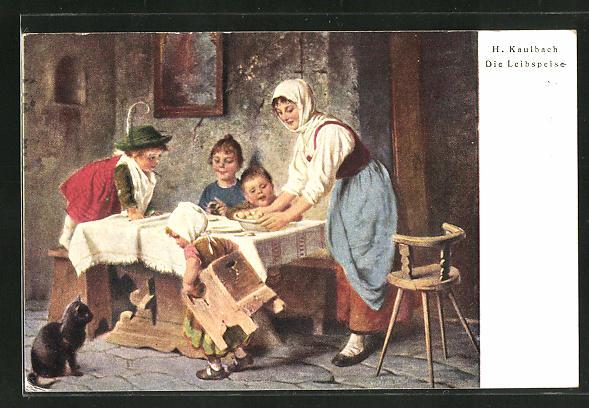 Künstler-AK Hermann Kaulbach: Mutter hat die Leibspeise ihrer Kinder zubereitet