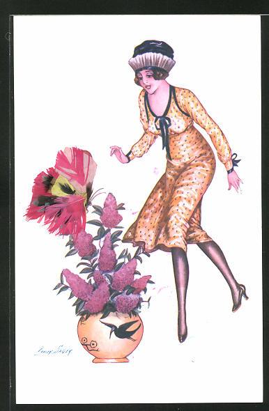 Künstler-AK Xavier Sager: Elegante Dame bewundert einen Schmetterling aus Federn
