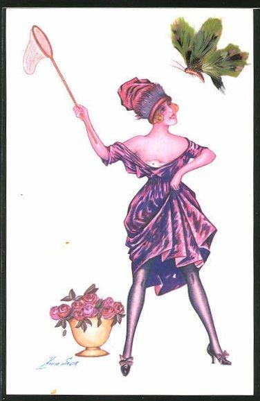 Künstler-AK Xavier Sager: Dame fängt einen Schmetterling aus Federn