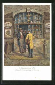 AK Stadtpostbote der Königlich Sächsischen Post überbringt einen Brief, Szene aus dem Jahre 1830