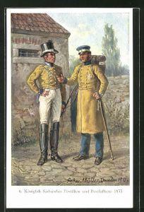 AK Königlich Sächsischer Postillion und Postfussbote im Gespräch, Szene aus dem Jahre 1833