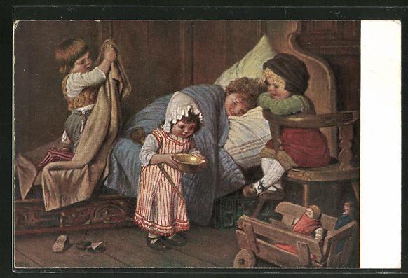 Künstler-AK Hermann Kaulbach: Der eingebildete Kranke, Kinder umsorgen den kranken Bruder