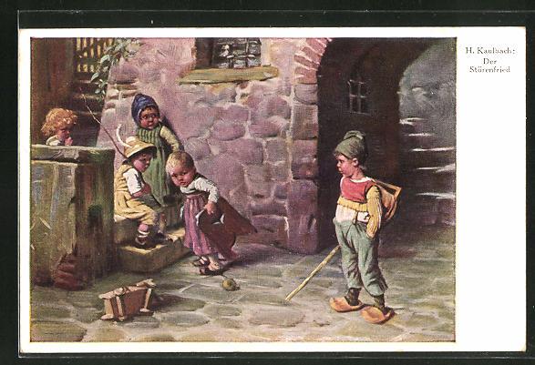 Künstler-AK Hermann Kaulbach: Der Störenfried. Junge stört das Spiel der anderen Kinder