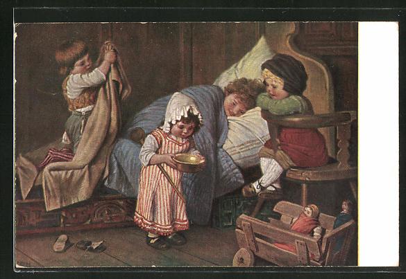 Künstler-AK Hermann Kaulbach: Der eingebildete Kranke. Geschwister versorgen den kranken Bruder im Bett