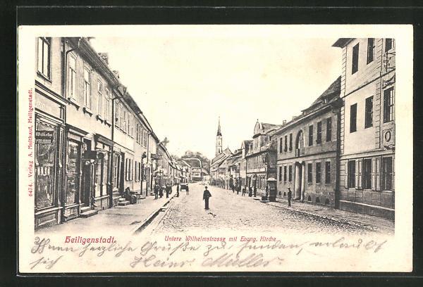 AK Heiligenstadt, Untere Wilhelmstrasse mit ev. Kirche