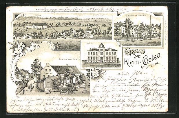 Lithographie Klein Oelsa b. Rabenau, Gasthof Klein-Oelsa, Stuhlfabrik von E. Wolf & Co.