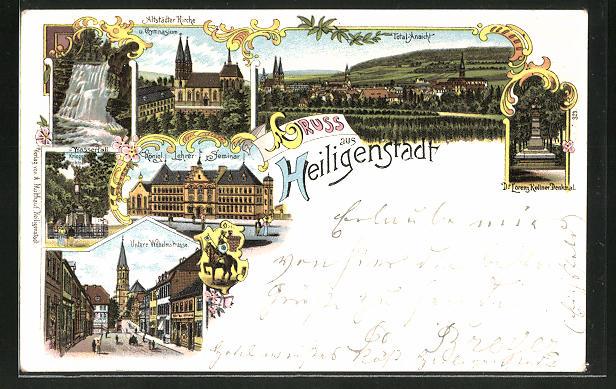 Lithographie Heiligenstadt, Königl. Lehrer-Seminar, Untere Wilhelmstrasse