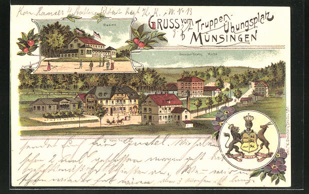 Lithographie Münsingen, Ort mit Hotel Fezer, Casino auf dem Truppenübungsplatz