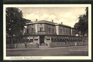 AK Königs Wusterhausen, Bahnhofshotel mit Strassenpartie