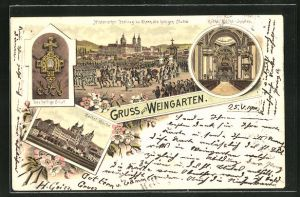 Lithographie Weingarten, Das heilige Blut, Kathol. Kirche, Kathol. Kirche-Innenansicht, Historischer Festzug