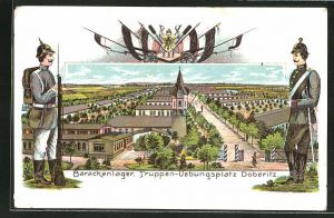 Lithographie Döberitz, Barackenlager im Truppen-Übungsplatz