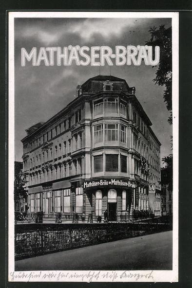 AK Leipzig, Gasthaus Mathäserbräu von Albin und Oskar Fischer