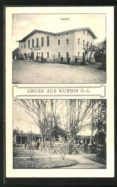 AK Wurbis O.-L., Gasthaus und Konzertgarten