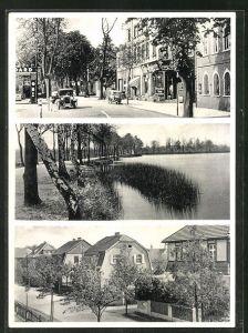 AK Schwepnitz i. Sa., Strassenpartie mit Geschäften, Ortspartie mit Gebäudeansicht, Uferpartie