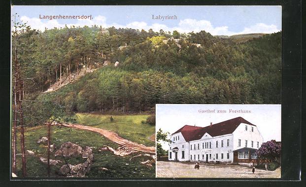 AK Langenhennersdorf, Gasthof zum Forsthaus, Labyrinth