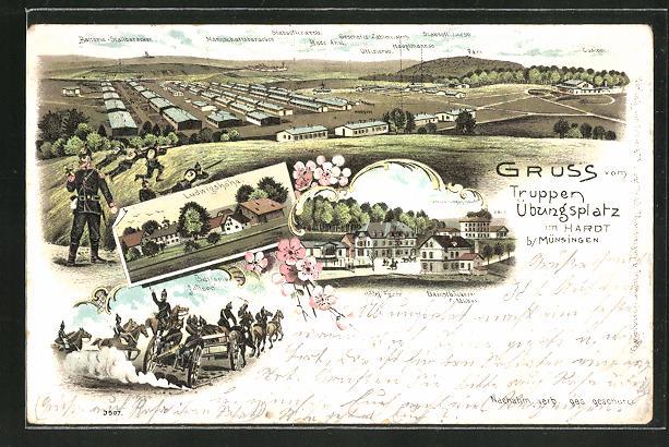 Lithographie Münsingen, Truppenübungsplatz im Hardt mit Baracken, Hotel Fezer & Ludwigshöhe