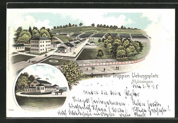Lithographie Münsingen, Truppenübungsplatz mit Baracken und Casino 0