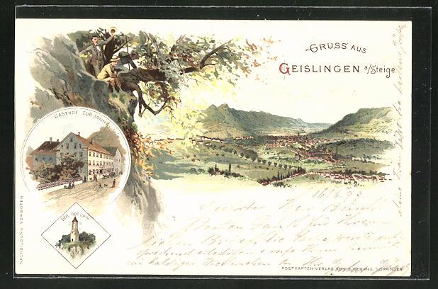 Lithographie Geislingen a. Steige, Totalansicht und Gasthof zur Sonne 0