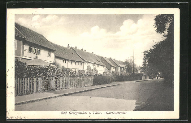 AK Bad Georgenthal i. Thür., Teilansicht mit Gartenstrasse 0