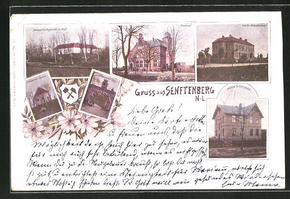 AK Senftenberg / N.-L., Schloss mit Wall, Post, Krankenhaus und Höhere Töchterschule 0