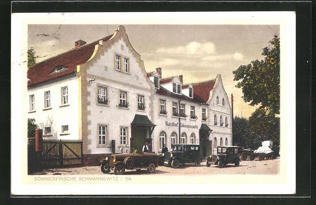 AK Schmannewitz i. Sa., Partie am Gasthof mit Autos