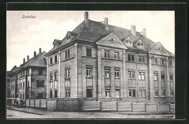 AK Zschöllau, Teilansicht mit Schule 0