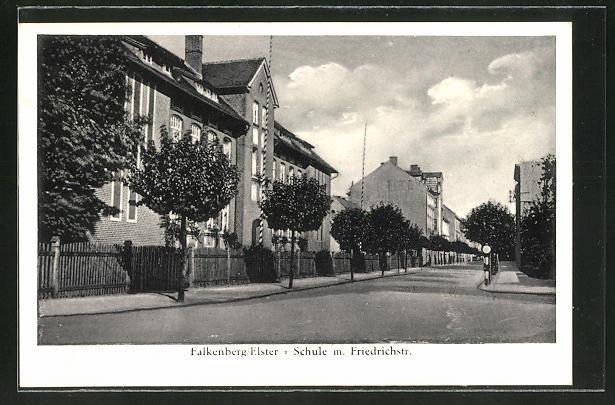AK Falkenberg / Elster, Schule mit Friedrichstrasse 0