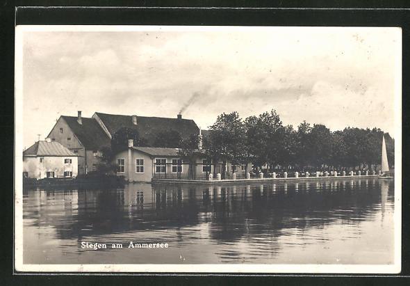Ak Stegen A Ammersee Blick Zum Gasthaus Schreyegg Nr 8351931 Oldthing Ansichtskarten Bayern