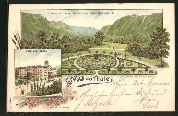 Vorläufer-Lithographie Thale, 1895, Hotel Zehnpfund, Parkanlage 0