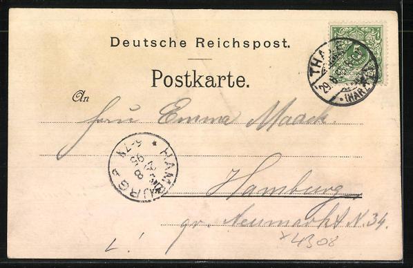 Vorläufer-Lithographie Thale, 1895, Hotel Zehnpfund, Parkanlage 1