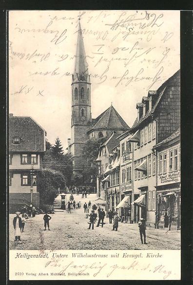 AK Heiligenstadt, Untere Wilhelmstrasse mit evang. Kirche