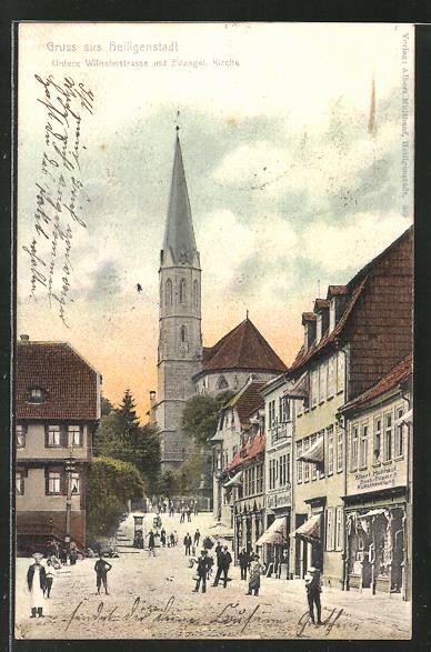 AK Heiligenstadt, Untere Wilhelmstrasse mit evang. Kirche 0