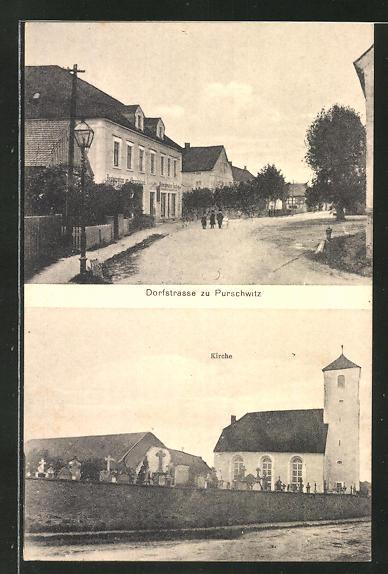 AK Purschwitz, Dorfstrasse, Kirche 0