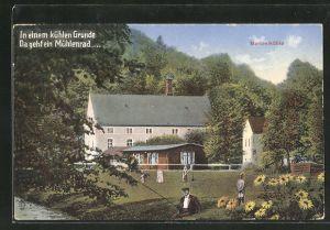 AK Wachau, Gasthaus Marienmühle im Seifersdorfer Tal