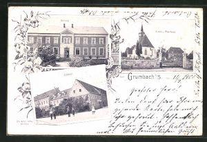 AK Grumbach i.S., Gasthaus, Schule, Kirche und Pfarrhaus
