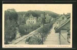 AK Bad Georgenthal / Thür., Teilansicht mit Hauptstrasse & St. Georgenplatz