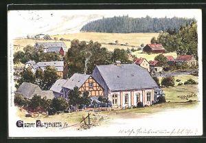 Künstler-AK Pöhl, Ortsansicht mit Gasthof Alt Jocketa