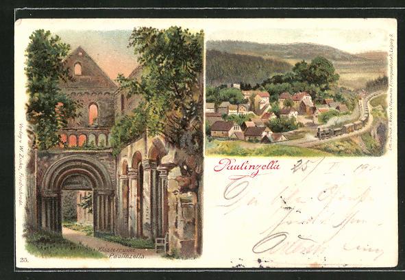 AK Paulinzelle, Ortsansicht mit Umland, Blick in die Klosterruine 0