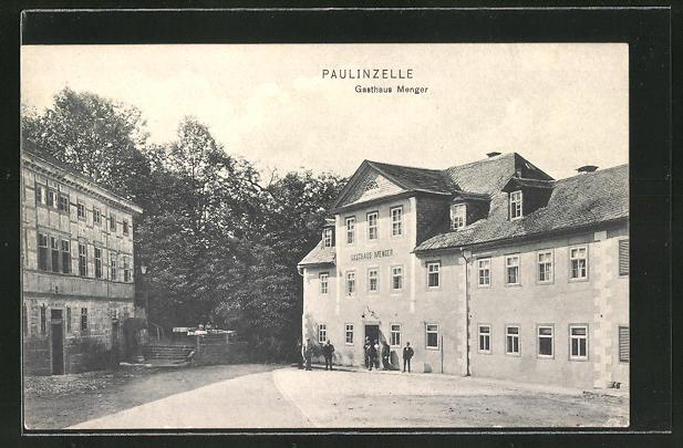 AK Paulinzelle, Ortspartie am Gasthaus Menger