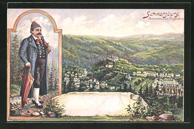 Künstler-AK Schwarzburg i. Thür. Wald, Panorama vom Trippstein aus gesehen, Gut gekleideter Wanderer 0