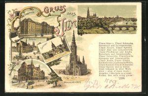 Lithographie Ulm a. d. Donau, Partie am Münster, Zündelthor, Rathaus, Saalbau, Teilansicht