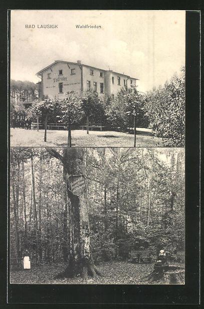 AK Bad Lausigk, Partie am Hotel Waldfrieden, kleines Mädchen auf einem Baumstumpf im Wald