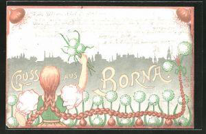 Lithographie Borna, Mädchen mit Blumen und Zwiebeln vor Silhouette der Stadt
