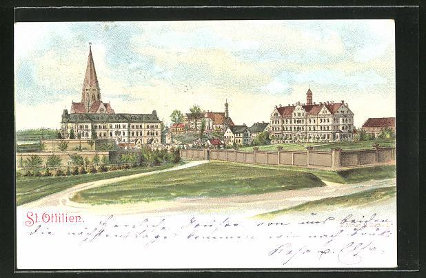 Lithographie St. Ottilien, Ortspartie mit Kirche 0
