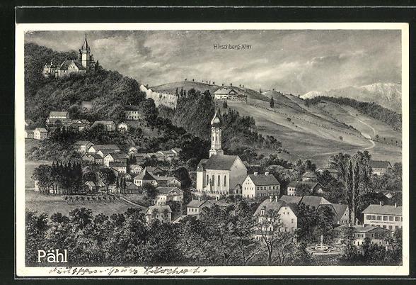 AK Pähl, Ortsansicht mit Blick auf Kirche und Hirschberg-Alm 0